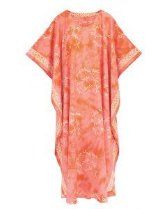 Coral Hand Blocked Batik Rayon Caftan Kaftan Loungewear Maxi Plus Size Long Dress 3X 4X