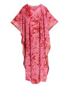 Fuchsia Hand Blocked Batik Rayon Caftan Kaftan Loungewear Maxi Plus Size Long Dress 3X 4X