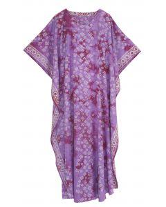 Mauve Hand Blocked Batik Rayon Caftan Kaftan Loungewear Maxi Plus Size Long Dress 3X 4X