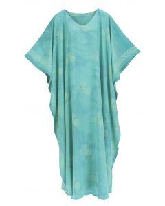 Turquoise Hand Blocked Batik Rayon Caftan Kaftan Loungewear Maxi Plus Size Long Dress XL 1X 2X