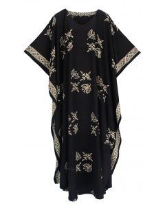 Black Hand Blocked Batik Rayon Caftan Kaftan Loungewear Maxi Plus Size Long Dress XL 1X 2X