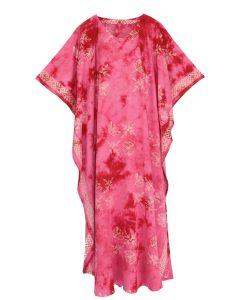 Fuchsia Hand Blocked Batik Rayon Caftan Kaftan Loungewear Maxi Plus Size Long Dress XL 1X 2X
