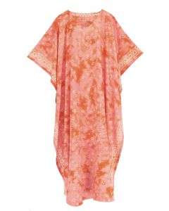 Coral Hand Blocked Batik Rayon Caftan Kaftan Loungewear Maxi Plus Size Long Dress XL 1X 2X
