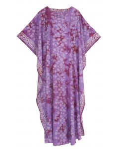 Mauve Hand Blocked Batik Rayon Caftan Kaftan Loungewear Maxi Plus Size Long Dress XL 1X 2X