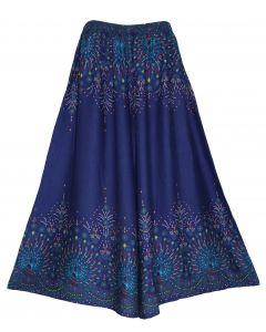 Dark blue Wide Leg Palazzo Pants Plus Size Hippie Bohemian Flora 1X 2X 3X
