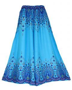 Blue Wide Leg Palazzo Pants Plus Size Hippie Bohemian Flora 1X 2X 3X