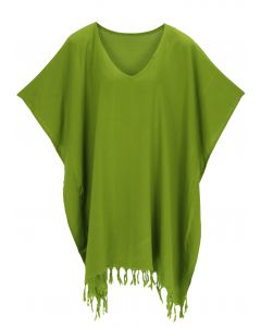 Avocado green Hippie Tunic Blouse Kaftan Top 1X 2X 3X 4X