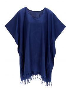 Navy blue Hippie Tunic Blouse Kaftan Top 1X 2X 3X 4X