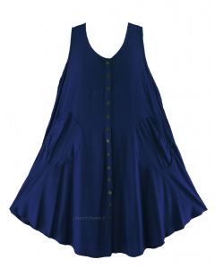 Navy blue Lagenlook Plus Size Sleeveless Vest Tunic Top 0X 1X