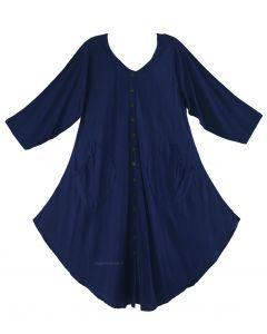 Navy blue Long Sleeve Lagenlook Plus Size Vest Tunic Top 0X 1X