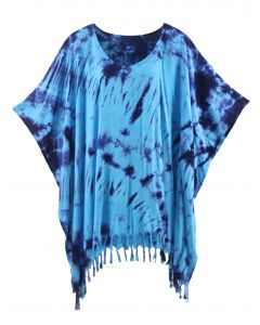 Blue HIPPIE Batik Tie Dye Tunic Blouse Kaftan Top 3X 4X
