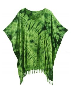 Green HIPPIE Batik Tie Dye Tunic Blouse Kaftan Top 3X 4X
