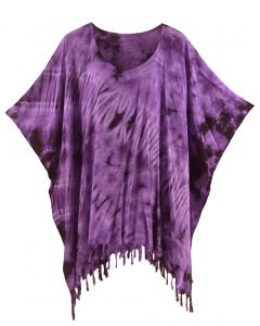 Purple HIPPIE Batik Tie Dye Tunic Blouse Kaftan Top XL to 4X