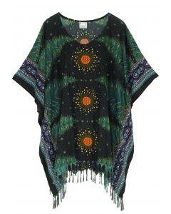 Black Plus Size Tunic Tops Flora Short Sleeve V neck Shirt 3X 4X