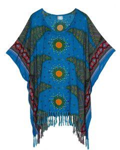 Blue Plus Size Tunic Tops Flora Short Sleeve V neck Shirt 3X 4X