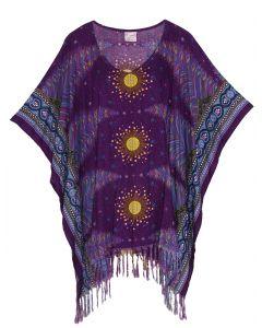 Purple Plus Size Tunic Tops Flora Short Sleeve V neck Shirt 3X 4X