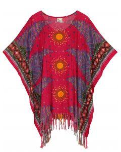 Fuchsia Plus Size Tunic Tops Flora Short Sleeve V neck Shirt 3X 4X