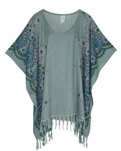 Grey Plus Size Tunic Tops Flora Short Sleeve V neck Shirt 3X 4X