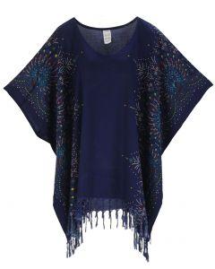 Dark blue Plus Size Tunic Tops Flora Short Sleeve V neck Shirt 3X 4X
