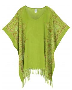 Olive Plus Size Tunic Tops Flora Short Sleeve V neck Shirt 3X 4X