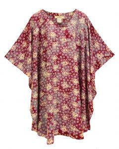 Red violet HIPPIE Batik CAFTAN KAFTAN Plus Size Tunic Blouse Kaftan Top 3X 4X