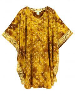 Brown HIPPIE Batik CAFTAN KAFTAN Plus Size Tunic Blouse Kaftan Top 3X 4X