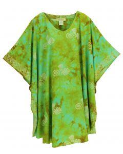 Olive HIPPIE Batik CAFTAN KAFTAN Plus Size Tunic Blouse Kaftan Top 3X 4X