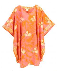 Coral HIPPIE Batik CAFTAN KAFTAN Plus Size Tunic Blouse Kaftan Top 3X 4X
