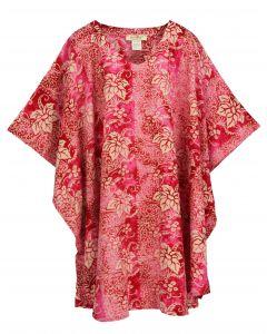 Fuchsia HIPPIE Batik CAFTAN KAFTAN Plus Size Tunic Blouse Kaftan Top 3X 4X