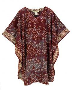 Wine HIPPIE Batik CAFTAN KAFTAN Plus Size Tunic Blouse Kaftan Top 3X 4X