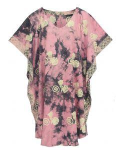 Pink HIPPIE Batik CAFTAN KAFTAN Plus Size Tunic Blouse Kaftan Top 3X 4X