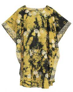 Mustard HIPPIE Batik CAFTAN KAFTAN Plus Size Tunic Blouse Kaftan Top 3X 4X
