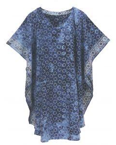 Blue HIPPIE Batik CAFTAN KAFTAN Plus Size Tunic Blouse Kaftan Top 3X 4X
