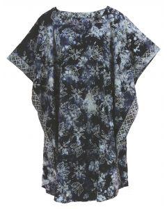 Dark blue HIPPIE Batik CAFTAN KAFTAN Plus Size Tunic Blouse Kaftan Top 3X 4X