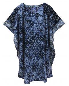 Dark blue HIPPIE Batik CAFTAN KAFTAN Plus Size Tunic Blouse Kaftan Top XL 1X 2X