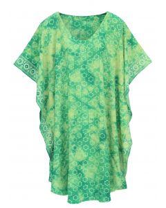Green HIPPIE Batik CAFTAN KAFTAN Plus Size Tunic Blouse Kaftan Top XL 1X 2X