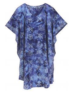 Blue HIPPIE Batik CAFTAN KAFTAN Plus Size Tunic Blouse Kaftan Top XL 1X 2X