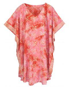 Coral HIPPIE Batik CAFTAN KAFTAN Plus Size Tunic Blouse Kaftan Top XL 1X 2X
