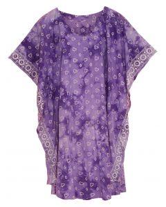 Purple HIPPIE Batik CAFTAN KAFTAN Plus Size Tunic Blouse Kaftan Top XL 1X 2X