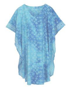 Turquoise HIPPIE Batik CAFTAN KAFTAN Plus Size Tunic Blouse Kaftan Top XL 1X 2X
