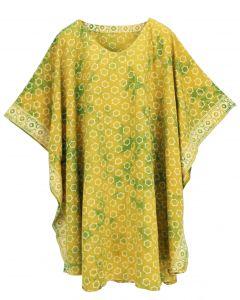 Banana yellow HIPPIE Batik CAFTAN KAFTAN Plus Size Tunic Blouse Kaftan Top 3X 4X