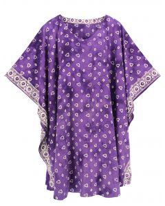 Purple HIPPIE Batik CAFTAN KAFTAN Plus Size Tunic Blouse Kaftan Top 3X 4X