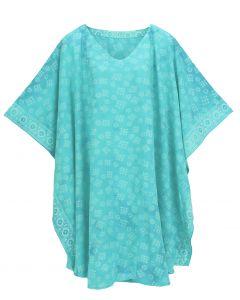 Turquoise HIPPIE Batik CAFTAN KAFTAN Plus Size Tunic Blouse Kaftan Top 3X 4X