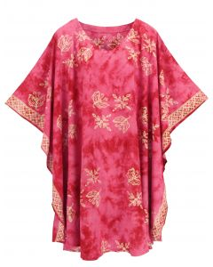 Fuchsia HIPPIE Batik CAFTAN KAFTAN Plus Size Tunic Blouse Kaftan Top XL 1X 2X