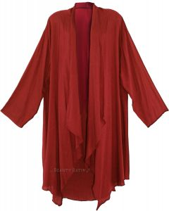 Maroon Long Sleeve Plus Size Cardigan Cover up Duster Jacket 1X 2X