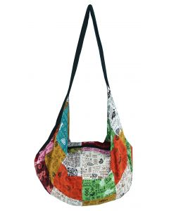 Patchwork Cotton Backpack Tote Bag with Zip