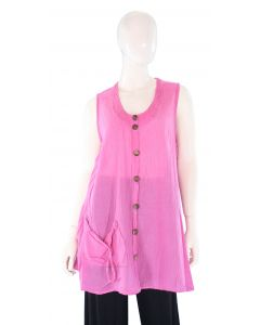 PINK Lagenlook Cotton Tunic Top L US