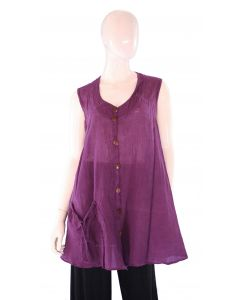 PURPLE PLUM Lagenlook Cotton Tunic Top L US