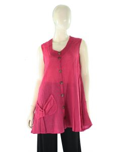 AMARANTH RED Lagenlook Cotton Tunic Top L US