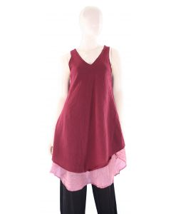 MAROON Lagenlook Cotton Tunic Top S US